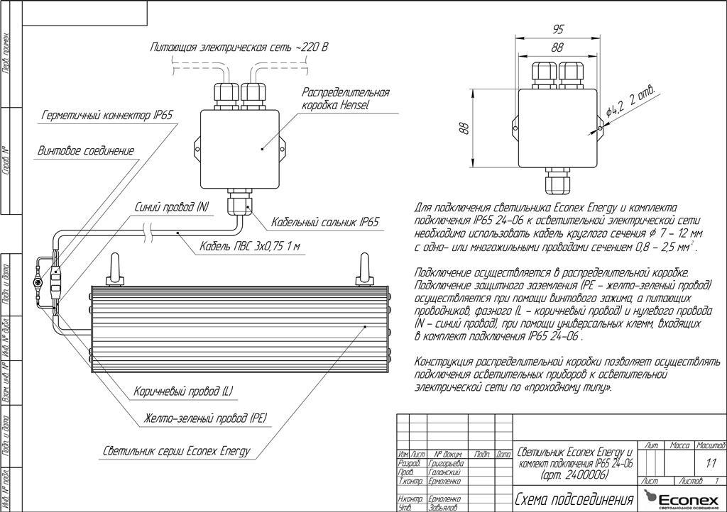 подключения IP65 24-06,